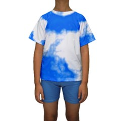 Blue Cloud Kid s Short Sleeve Swimwear