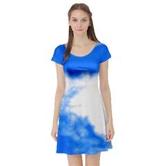 Blue Cloud Short Sleeve Skater Dress