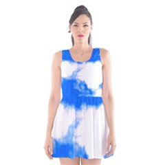 Blue Cloud Scoop Neck Skater Dress