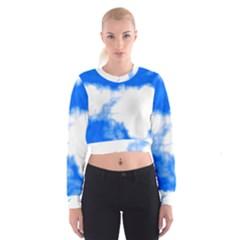 Blue Cloud Women s Cropped Sweatshirt