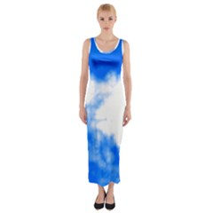 Blue Cloud Fitted Maxi Dress