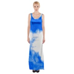 Blue Cloud Maxi Thigh Split Dress