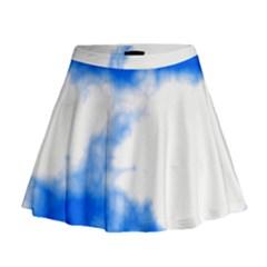 Blue Cloud Mini Flare Skirt