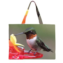 Male Ruby Throated Humming Bird Large Tote Bag