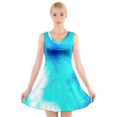 Turquoise Sky  V-Neck Sleeveless Skater Dress