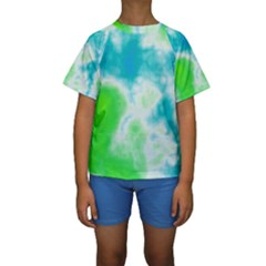 Turquoise And Green Clouds Kid s Short Sleeve Swimwear