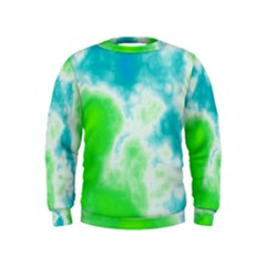 Turquoise And Green Clouds Kids  Sweatshirt