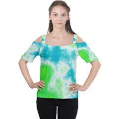 Turquoise And Green Clouds Women s Cutout Shoulder Tee