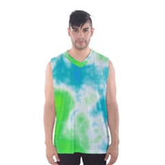 Turquoise And Green Clouds Men s Basketball Tank Top