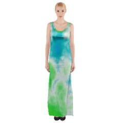 Turquoise And Green Clouds Maxi Thigh Split Dress