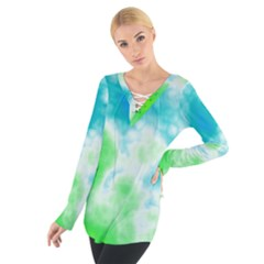 Turquoise And Green Clouds Women s Tie Up Tee