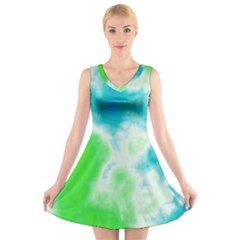 Turquoise And Green Clouds V-Neck Sleeveless Skater Dress