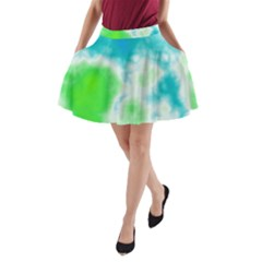 Turquoise And Green Clouds A-Line Pocket Skirt