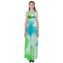 Turquoise And Green Clouds Empire Waist Maxi Dress