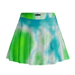 Turquoise And Green Clouds Mini Flare Skirt