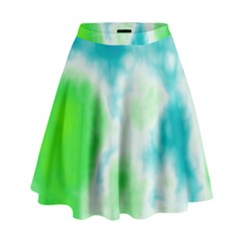 Turquoise And Green Clouds High Waist Skirt
