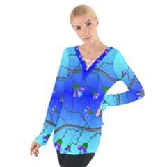 Blue Tropical Flower Women s Tie Up Tee