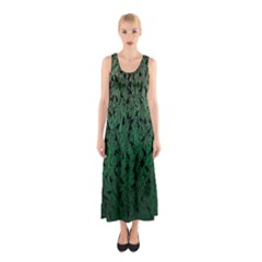Green Ombre Feather Pattern, Black, Sleeveless Maxi Dress