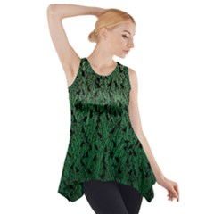 Green Ombre Feather Pattern, Black, Side Drop Tank Tunic