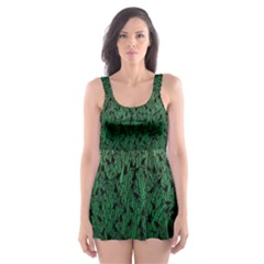 Green Ombre Feather Pattern, Black, Skater Dress Swimsuit