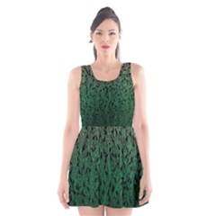 Green Ombre Feather Pattern, Black, Scoop Neck Skater Dress