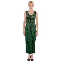 Green Ombre Feather Pattern, Black, Fitted Maxi Dress