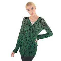 Green Ombre Feather Pattern, Black, Women s Tie Up Tee