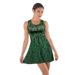 Green Ombre Feather Pattern, Black, Racerback Dresses