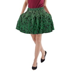 Green Ombre Feather Pattern, Black, A Line Pocket Skirt