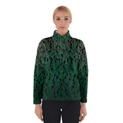 Green Ombre Feather Pattern, Black, Winterwear
