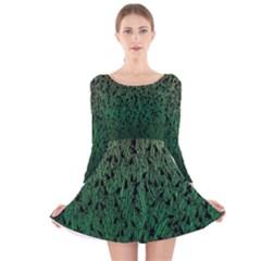 Green Ombre Feather Pattern, Black, Long Sleeve Velvet Skater Dress