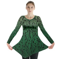Green Ombre Feather Pattern, Black, Long Sleeve Tunic