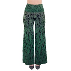 Green Ombre Feather Pattern, Black, Pants