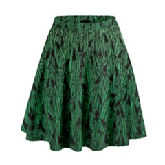Green Ombre Feather Pattern, Black, High Waist Skirt
