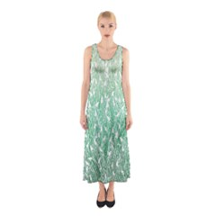 Green Ombre Feather Pattern, White, Sleeveless Maxi Dress
