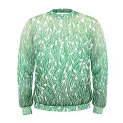 Green Ombre Feather Pattern, White, Men s Sweatshirt