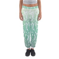 Green Ombre Feather Pattern, White, Women s Jogger Sweatpants