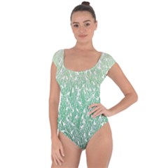 Green Ombre Feather Pattern, White, Short Sleeve Leotard (ladies)
