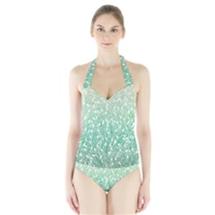 Green Ombre Feather Pattern, White, Women s Halter One Piece Swimsuit