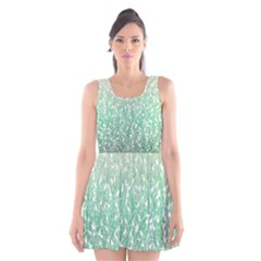 Green Ombre Feather Pattern, White, Scoop Neck Skater Dress