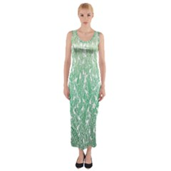 Green Ombre Feather Pattern, White, Fitted Maxi Dress