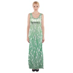 Green Ombre Feather Pattern, White, Maxi Thigh Split Dress