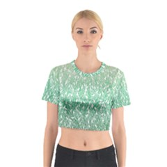 Green Ombre Feather Pattern, White, Cotton Crop Top