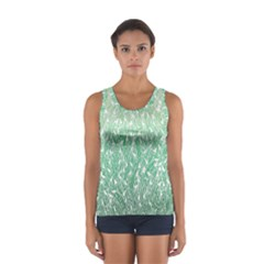 Green Ombre Feather Pattern, White, Tops