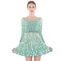 Green Ombre Feather Pattern, White, Long Sleeve Velvet Skater Dress