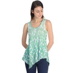 Green Ombre Feather Pattern, White, Sleeveless Tunic