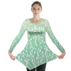 Green Ombre Feather Pattern, White, Long Sleeve Tunic