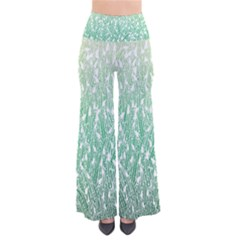 Green Ombre Feather Pattern, White, Pants