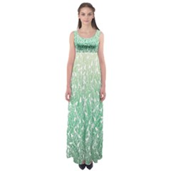 Green Ombre Feather Pattern, White, Empire Waist Maxi Dress