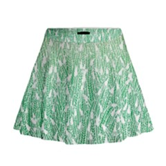 Green Ombre Feather Pattern, White, Mini Flare Skirt